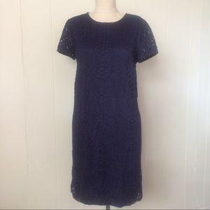 Navy Crochet Overlay Dress